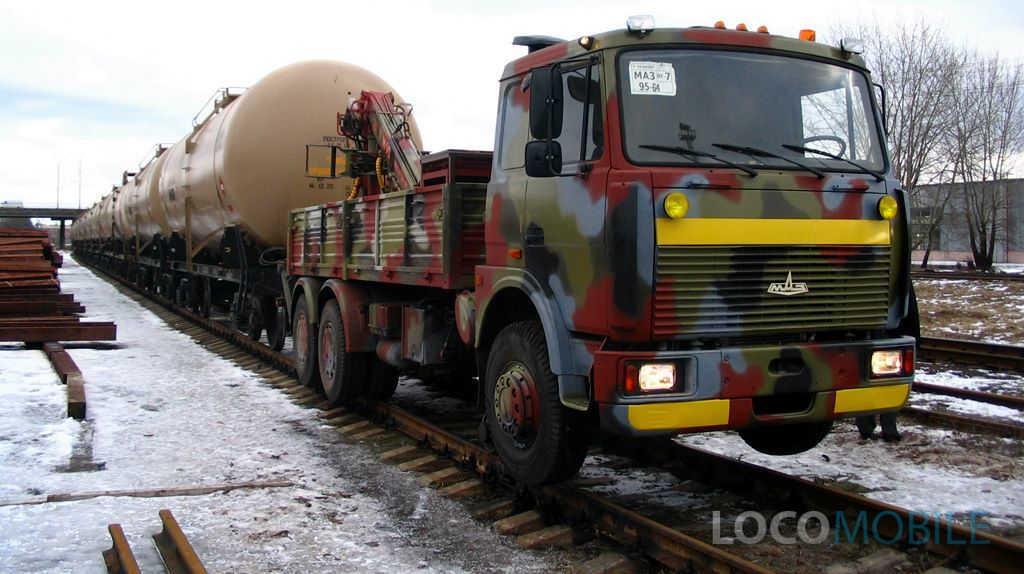 Маневровый МАЗ локомобиль с КМУ-ТРАМЛИНЕР
